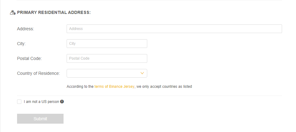 Primary residential address Binance Jersey