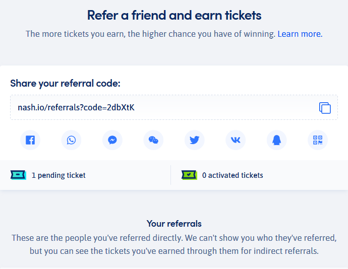 Nash referral program