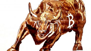 bull with bitcoin sign on it