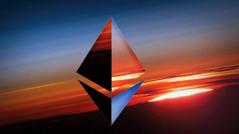 Ethereum logo on sunset background