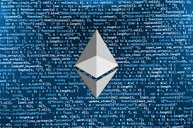 ethereum logo on a coding background