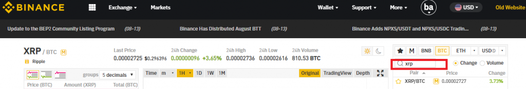 Sell Ripple on Binance