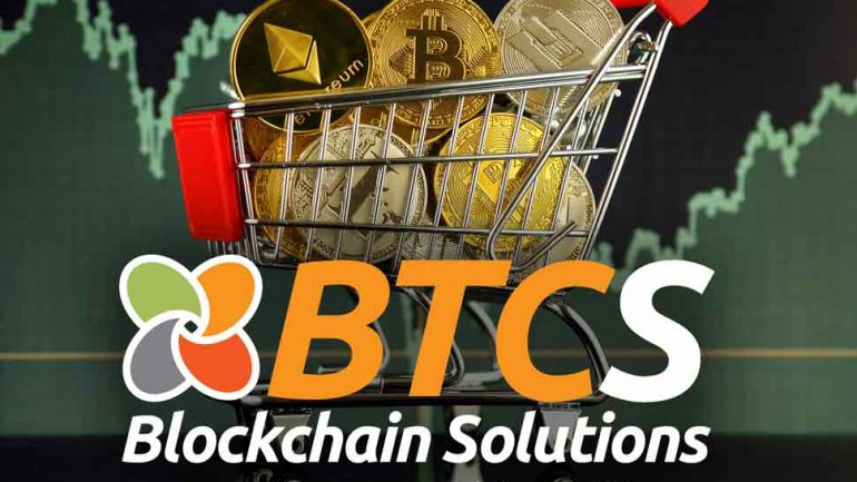 BTCS shopping cart with cryptocurrencies
