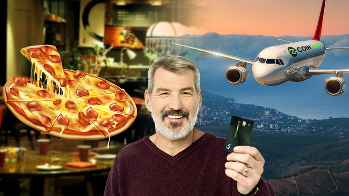 pizza,a card and a plane