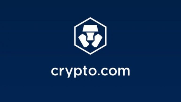 Crypto.com Logo with blue bakcground