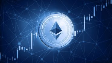 Ethereum logo with growing graph on background