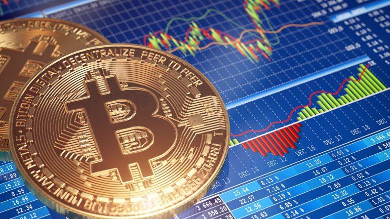 Bitcoin coin above trading graph
