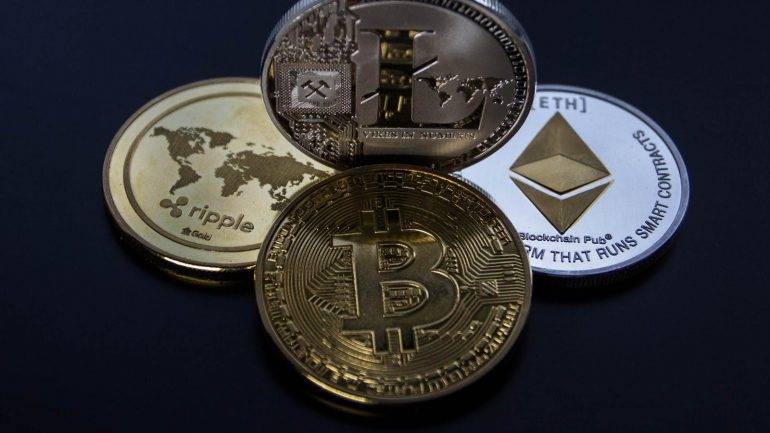Bitcoin, Ripple, Ethereum and Litecoin physical coins