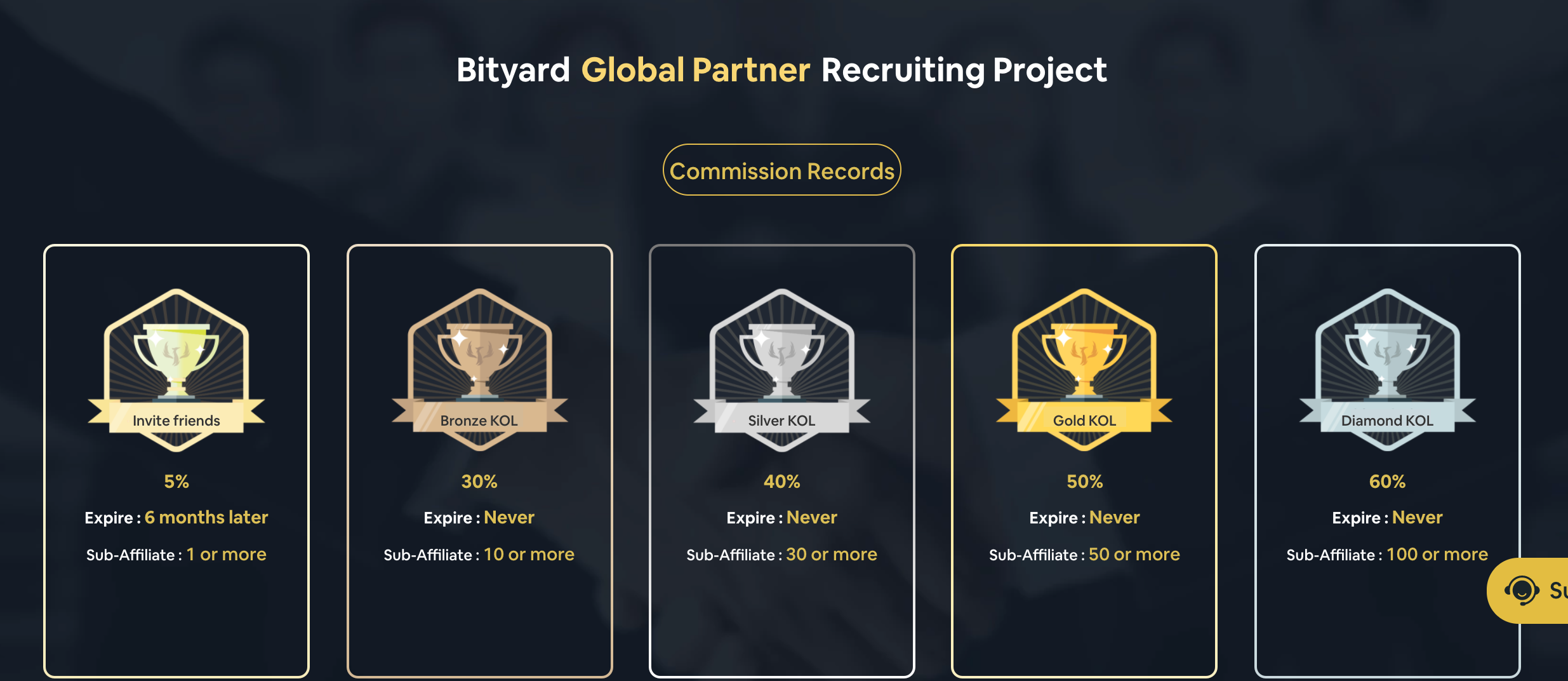 Bityard global partner recurring project