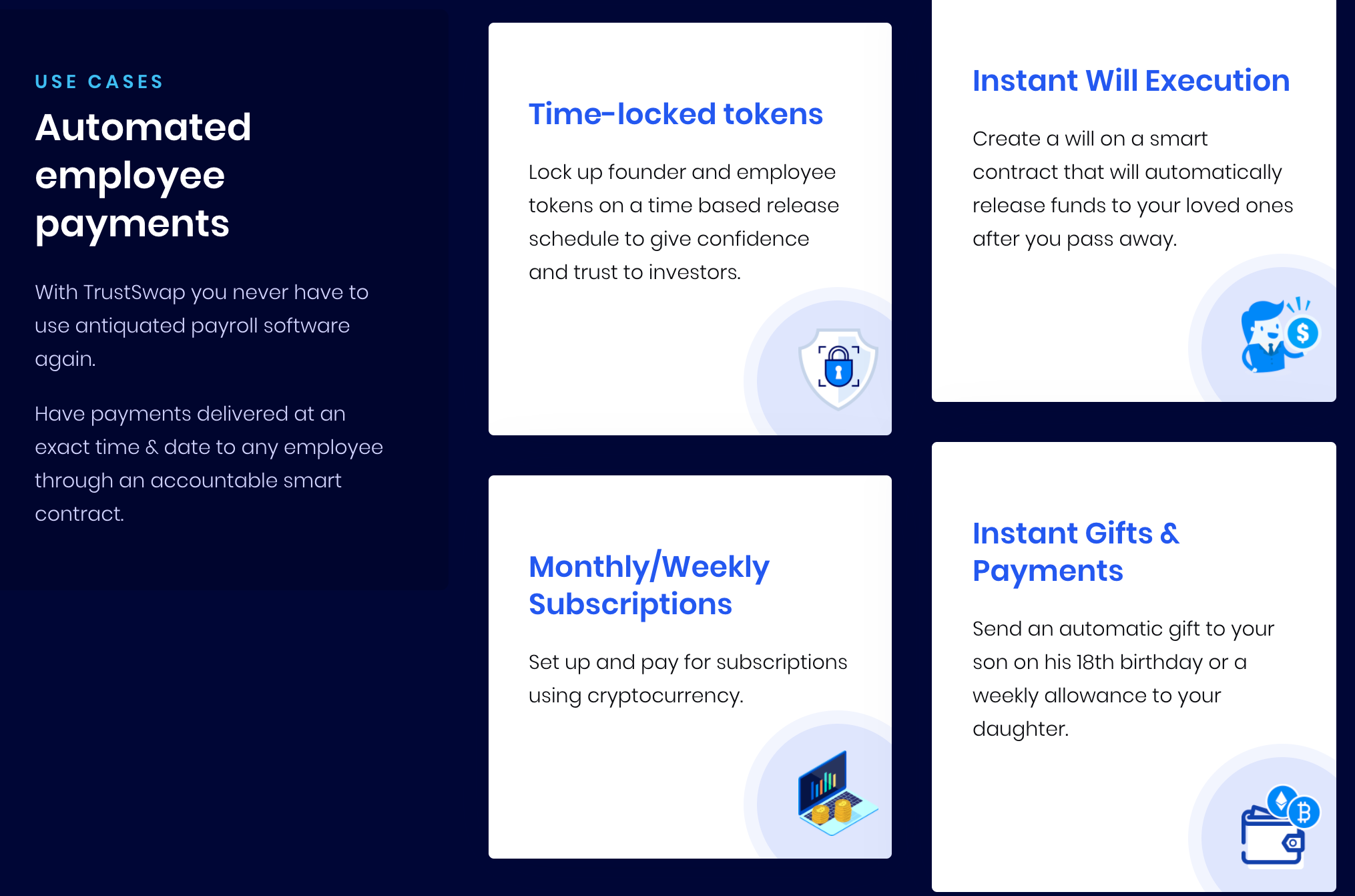 trustswap features - automated employee payments