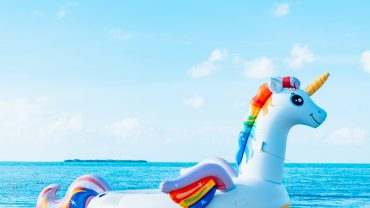 inflatable unicorn in the sea