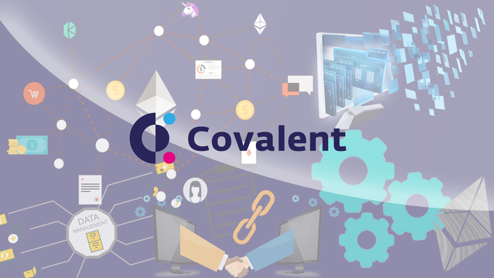 covalent logo on infographic background