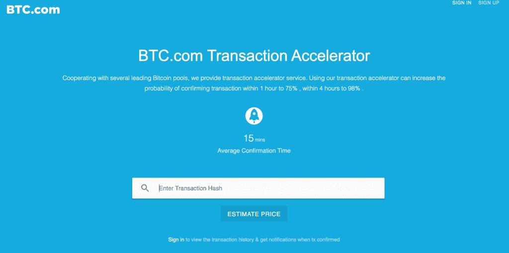 BTC.com Bitcoin transaktionsaccelerator