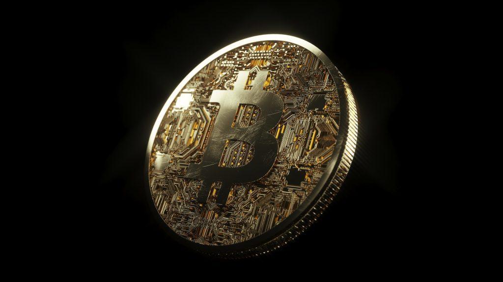 Bitcoin med svart bakgrund