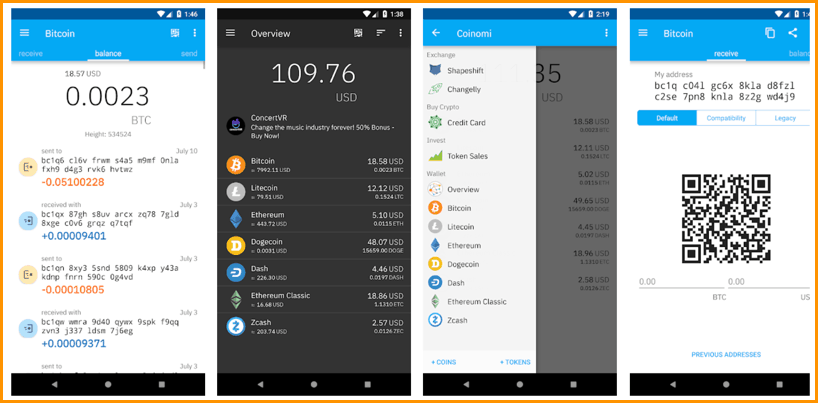 Dompet Coinomi, Dompet Android, Bitcoin