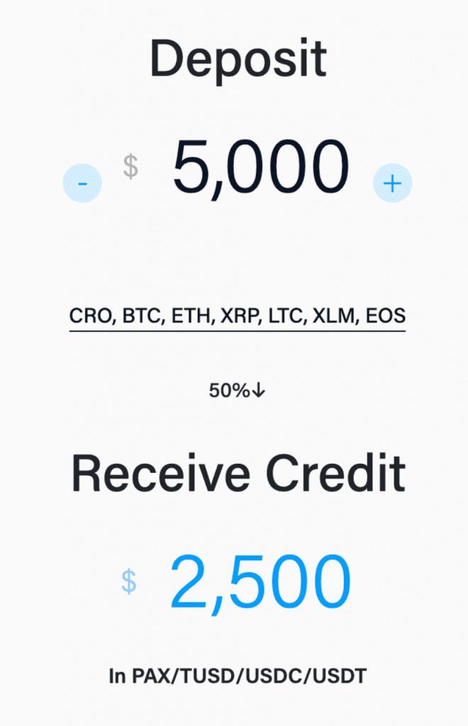 deposit to credit ratio at crypto.com