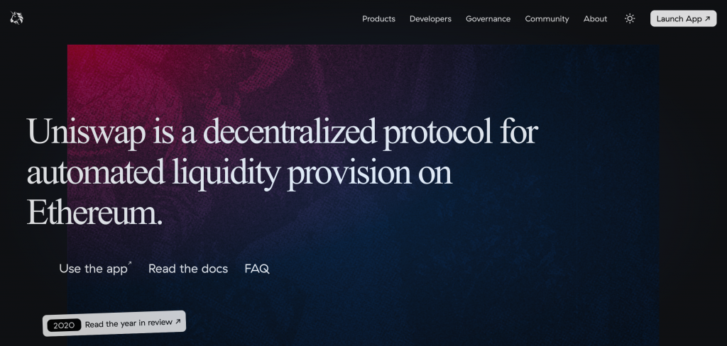 Uniswap official site background that allows us to better understand what is DeFi