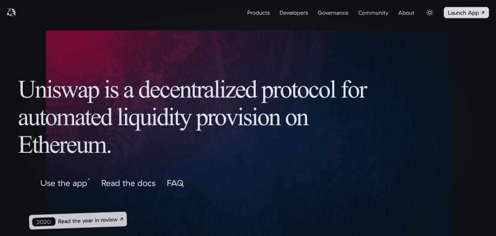 Uniswap officiell webbplats bakgrund som gör att vi bättre kan förstå vad som är DeFi