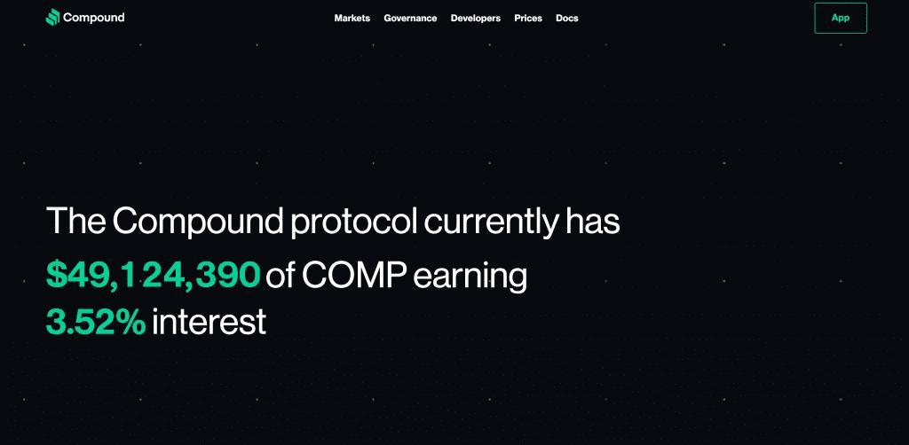 Compound Finance-protokollets officiella webbplats