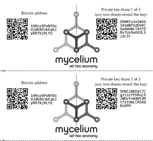 Mycelium wallet paper wallet