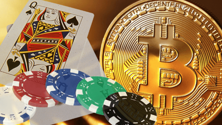 Bitcoin and Casino cards and dices